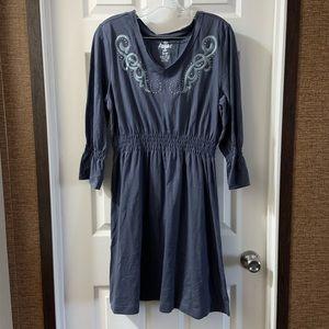 Ariat Blue V neck Embroidered Studded Dress size L